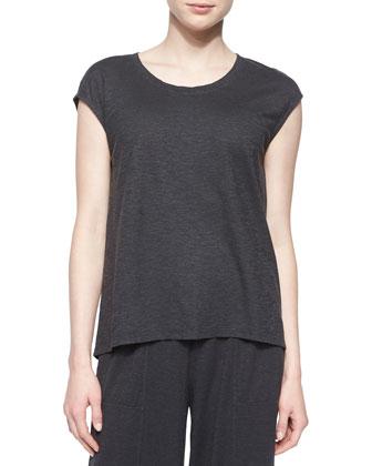 Short-Sleeve Hemp Twist Box Top, Iridescent Striped Scarf & Wide-Leg Ankle ...