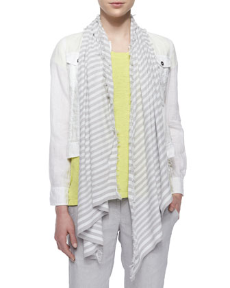 Organic Linen Jean Jacket, Short-Sleeve Box Top, Diagonal Striped Scarf & ...