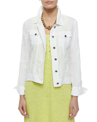 Organic Linen Jean Jacket & Organic Linen Scoop-Neck Tank Dress