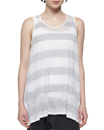 Sleeveless Striped Long Tank