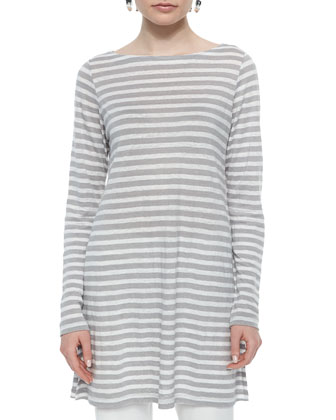 Long-Sleeve Cruise Striped Linen Tunic, Silver, Petite