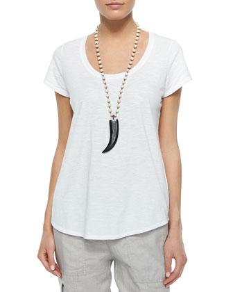 Short-Sleeve Scoop-Neck Box Top, Maltinto Modal Stripe Scarf & Drawstring ...