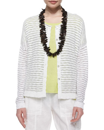 Wavy-Stripe Organic Cotton Cardigan