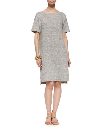 Short-Sleeve Terry Shift Dress, Moon
