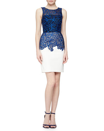 Sleeveless Floral Organza Cocktail Dress, Cobalt