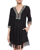 Embroidered Tassel-Trim Coverup