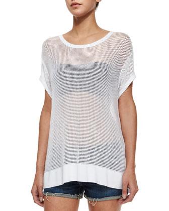Odette Mesh-Knit Tee, White