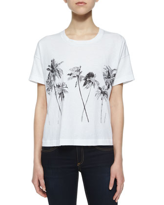 Suzanne Palm Jersey Tee, White