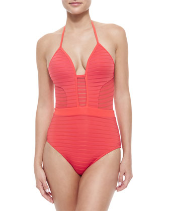 Parallels Ribbed V-Neck One-Piece Swimsuit