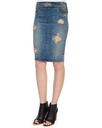River Tiered Denim Skirt, Destroyed Soil