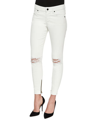 Dylan Leather Jeans, White