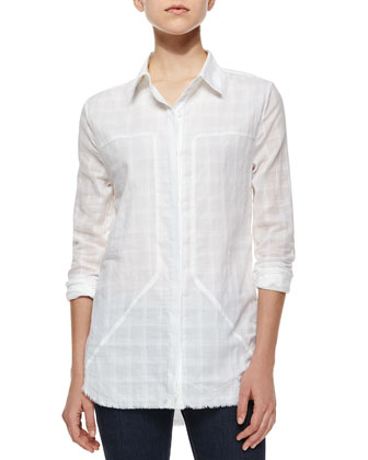 Joni Plaid Linen Blouse, White