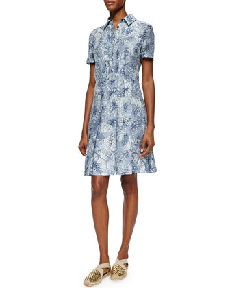 Short-Sleeve Textured Jacquard Shirtdress