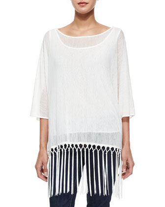 Sheer-Knit Fringe Tunic, White