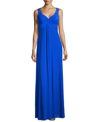 Crisscross-Front Cutout-Back Gown, Electric Blue