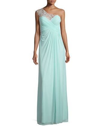 Lace-Trim One-Shoulder Gown, Light Mint