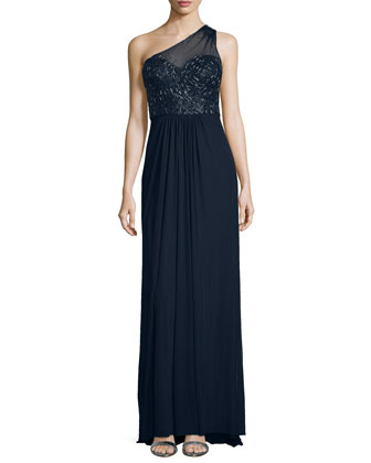Embroidered One-Shoulder Gown, Gunmetal