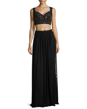Lace Top & Net Jersey Skirt, Black