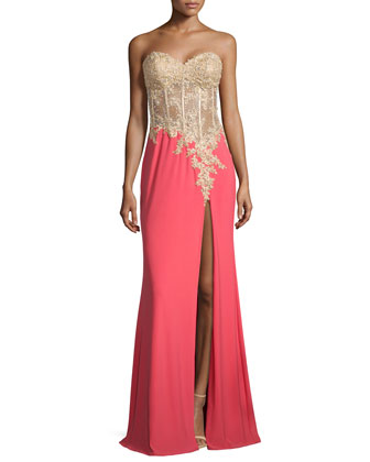 Strapless Sheer-Bodice Combo Gown, Hot Coral