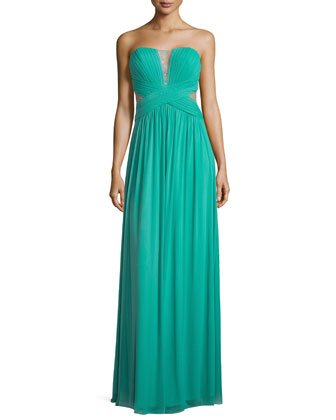 Strapless Chiffon Illusion Dress, Spearmint