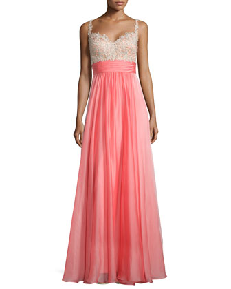 Sleeveless Sweetheart Combo Gown, Hot Coral