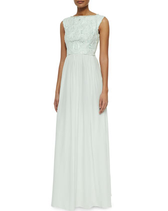 Lace/Chiffon Sleeveless Gown