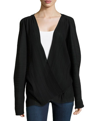 Textured Surplice Top, Black