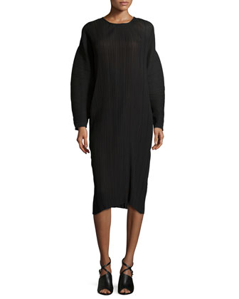 Plisse Long-Sleeve Dress, Black