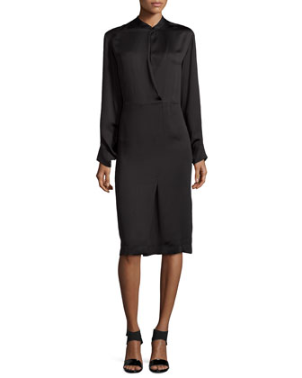 Satin Long-Sleeve Dress, Black