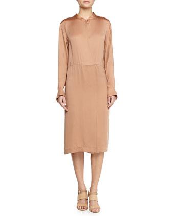 Satin Long-Sleeve Dress, Nude