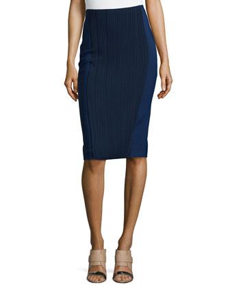 Knee-Length Pintuck Skirt