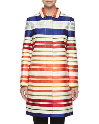 Long Striped Boxy Coat