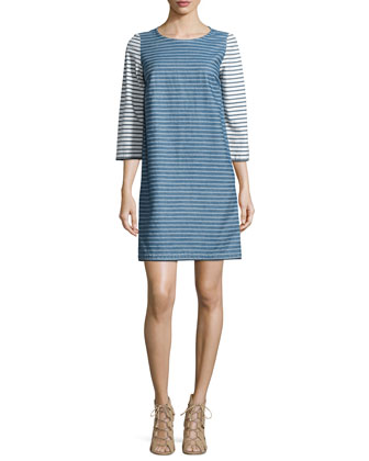 Striped Jersey Shift Dress, Blue