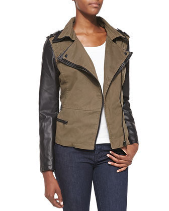Faux-Leather Combo Moto Jacket, Olive