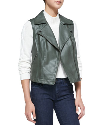 Faux-Leather Zip Vest, Military
