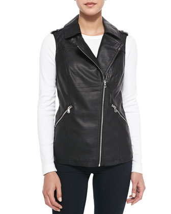 Asymmetric Zip-Front Faux-Leather Vest, Black