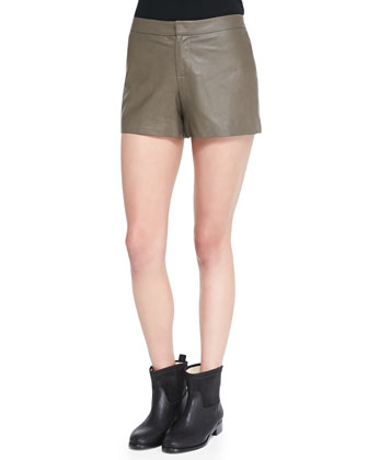 Thekla Leather Shorts, Olive