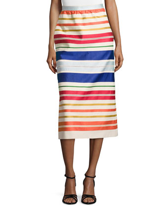 Twill Knit Multicolor-Stripe Skirt