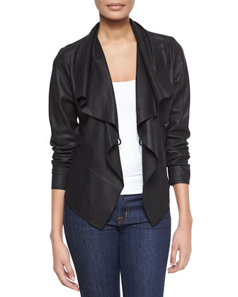 Asymmetric Cascading Collar Leather Jacket