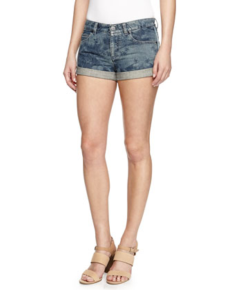 Tropical-Imprint Denim Shorts