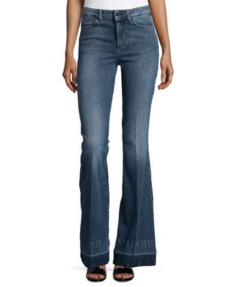 Denim Flare-Leg Trousers, Blue