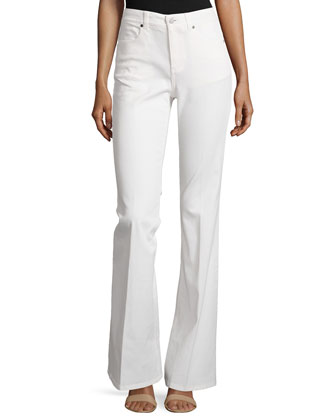 Denim Flare-Leg Trousers, Ivory