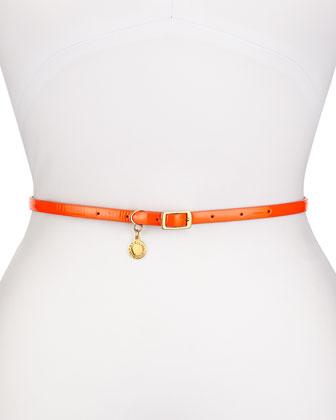 Faux-Leather Skinny Belt, Orange