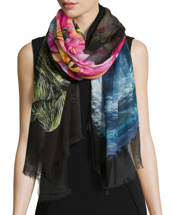 Seascape-Print Voile Scarf, Black Multi