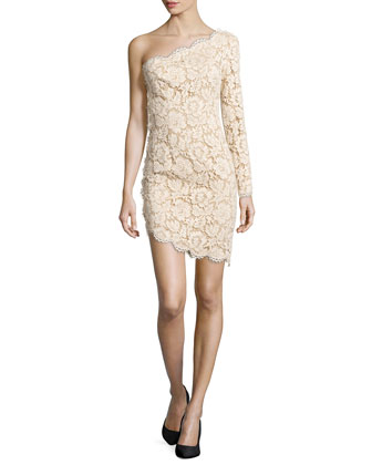 Lace One-Shoulder Dress, Cream