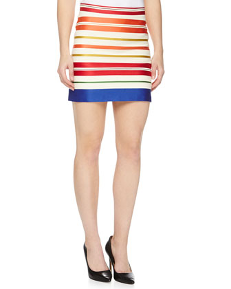 Striped Sateen Mini Skirt