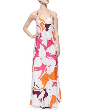 Garden-Print Silk Maxi Dress
