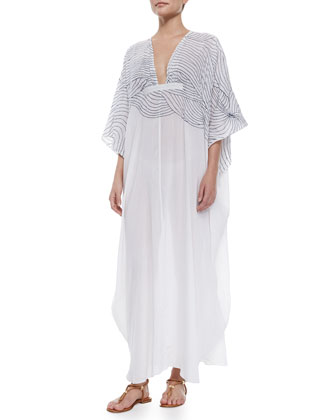 Embroidered Gauze Caftan, White