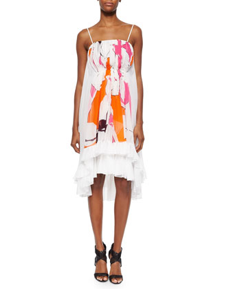 Sybil Printed Tiered Spaghetti-Strap Silk Dress