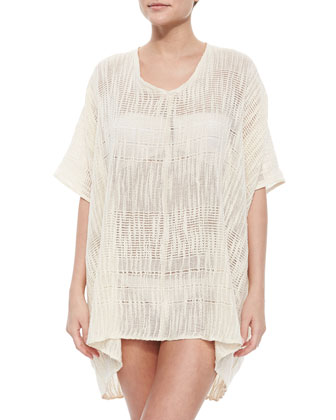 Netted Woven Poncho Coverup